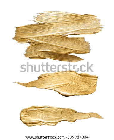 Gold brass watercolor texture paint stain abstract illustration set. Shining brush stroke for you amazing design project - stock photo