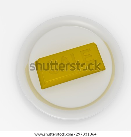 """Gold brick with inscription """"Sale"""" on white plate - stock photo"""