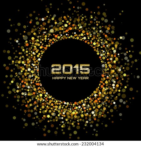 Gold Bright New Year 2015 Background, raster illustration - stock photo