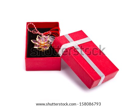 Gold broche in a gift box