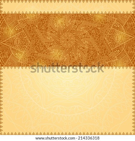 Gold Brown Decoration Card with Place for Text.  Illustration - stock photo