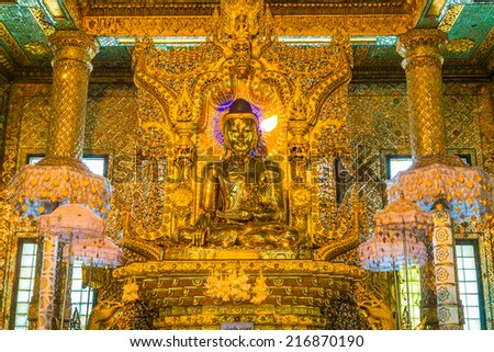 Gold Buddha, Old Buddha in Bo Ta Tuang Paya Temple Yangon, Myanmar (Burma) They are public domain or treasure of Buddhism, no restrict in copy or use  - stock photo