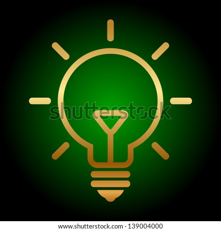 Gold bulb icon - stock photo
