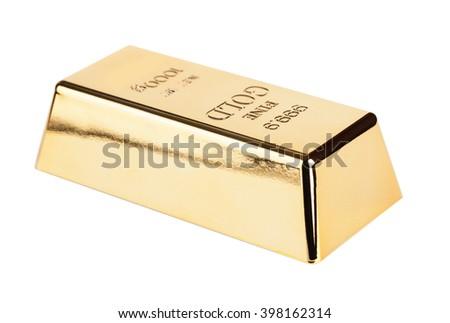 gold bullion close-up isolated on white background - stock photo