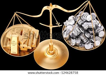 gold bullion heavier than silver coins. Isolated on black. - stock photo