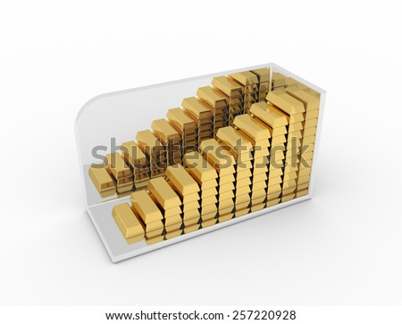 Gold bullion in the form of graphs, charts, isolated on white background