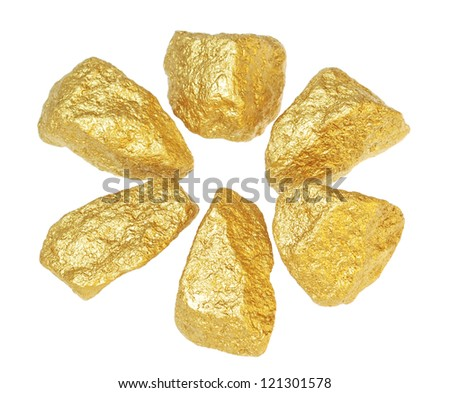 Gold bullion nuggets. On a white background. - stock photo