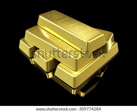 gold bullion on black background 3d Illustrations  - stock photo