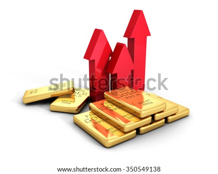 gold bullions price rising arrows grow up. business concept 3d render illustration - stock photo
