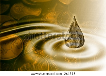 Gold business background with money drop and water ripples . - stock photo