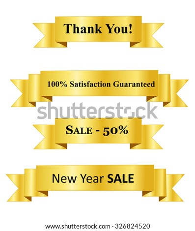 Gold business promotion banner set with black text inside - stock photo
