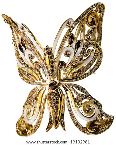 gold butterfly - stock photo