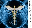 Gold caduceus medical symbol - stock photo