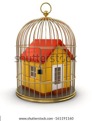 Gold Cage with House (clipping path included) - stock photo