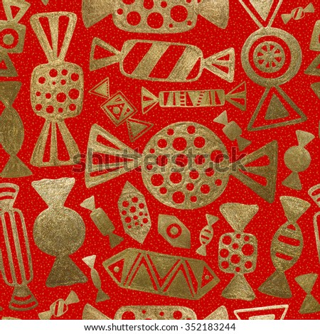 Gold Candy Illustration. Sweet Seamless Pattern. Hand Drawn Abstract Retro Background. Red Vintage Decoration.