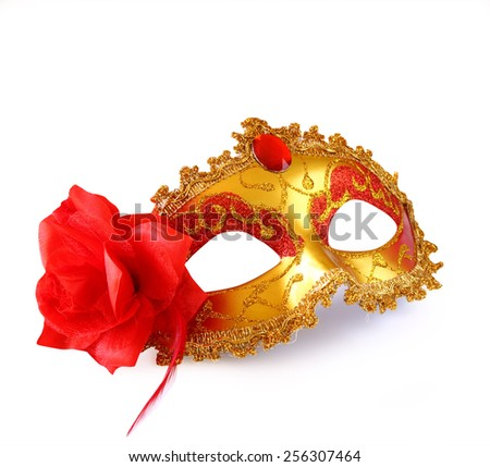 gold carnival mask with red flower isolated on white  - stock photo