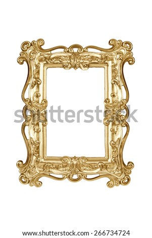 Gold carved picture frame isolated over white with clipping path. - stock photo