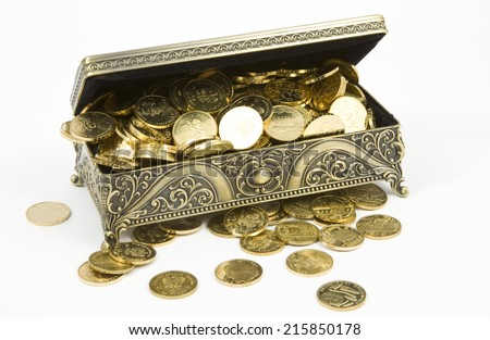 gold casket and gold coins on a white background - stock photo