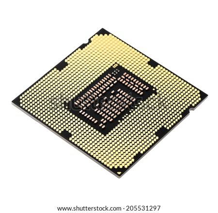 Gold central processor unit isolated on white background, CPU
