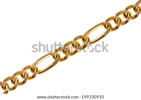 Gold chain isolated on white background - stock photo