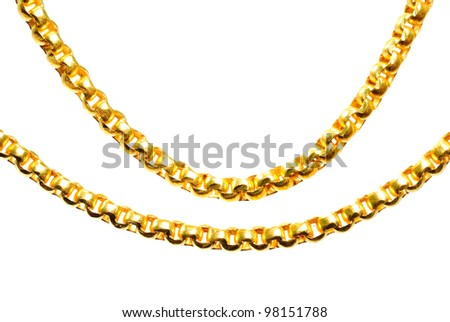 Gold chain isolated on white, closeup