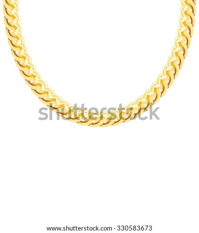 Gold Chain Jewelry. Isolated Illustration