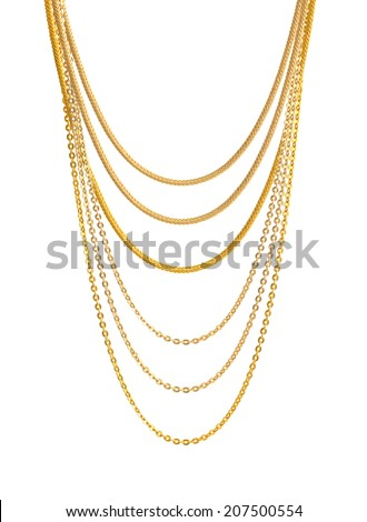 Gold Chain Jewelry. Isolated on White Background. - stock photo