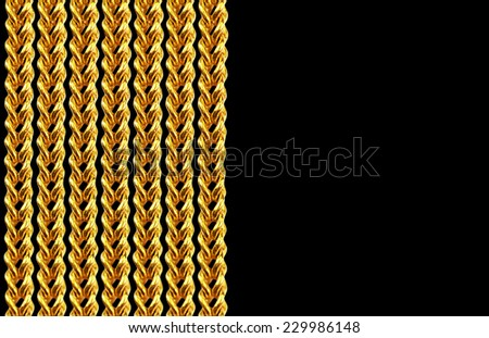 Gold chain necklace isolated on black, closeup , for background - stock photo