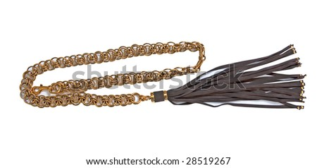 gold chain with a leather brush suspension
