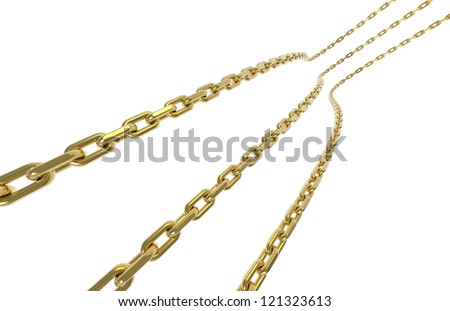 Gold chains isolated on white background