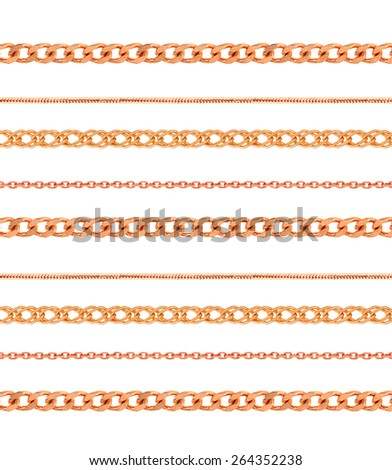 Gold chains on white background - stock photo