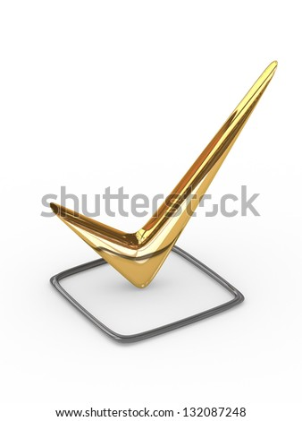Gold checkmark - stock photo