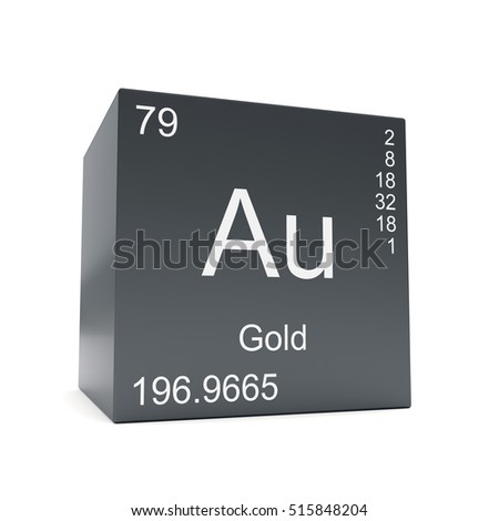 Gold symbol au chemical element periodic stock illustration gold chemical element symbol from the periodic table displayed on black cube 3d render urtaz Images