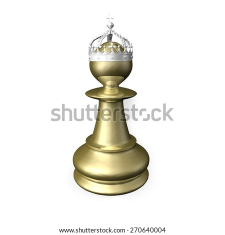 Gold chess figurine 3d render illustration isolated on white. - stock photo