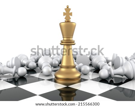 Gold Chess King winning on White Pawns. Three Dimensional Rendering - stock photo