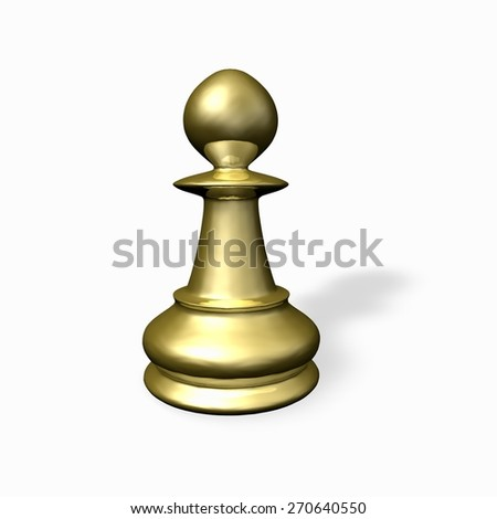Gold chess piece render. Isolated on white. - stock photo