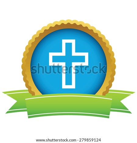 Gold Christianity logo on a white background - stock photo