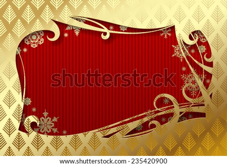 Gold Christmas and New-Year's greeting card with red background - stock photo