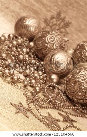 gold christmas balls - stock photo