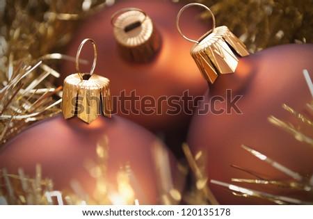 Gold christmas balls close up - stock photo