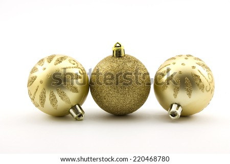 Gold christmas balls isolated on white background - stock photo