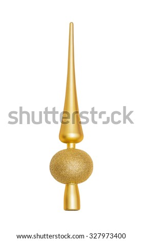 Gold Christmas fir-tree vertex (tip, top) decoration isolated on white background - stock photo