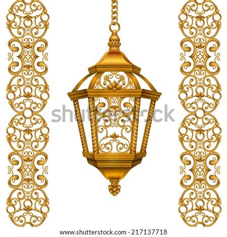 gold Christmas lantern illustration, vintage design elements isolated on white background - stock photo