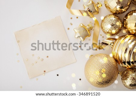 gold christmas ornaments frame background - stock photo