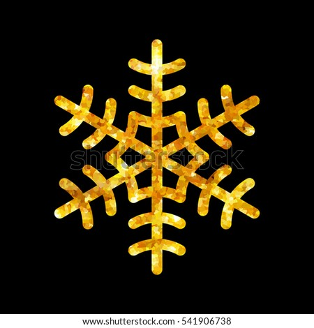 Gold Christmas snowflake icon. Golden fire silhouette snow flake sign isolated black background. Elegant design card, decoration. Symbol winter, New Year holiday celebration illustration