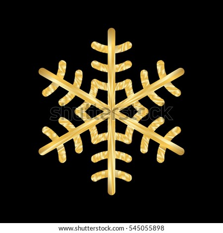 Gold Christmas snowflake icon. Golden silhouette snow flake sign isolated on black background. Elegant design for card, decoration. Symbol winter, New Year holiday celebration illustration