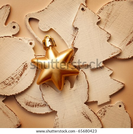 gold christmas star and other ornaments
