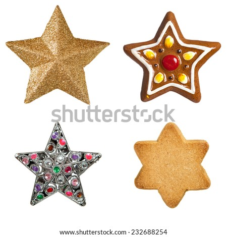 Gold christmas star isolated on white - stock photo