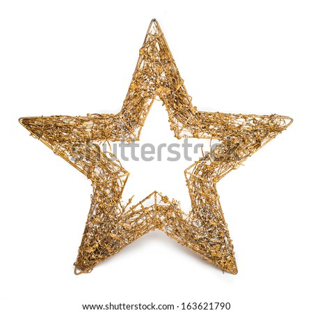 Gold Christmas star isolated on white background - stock photo