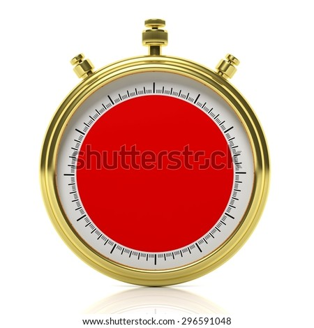 Gold chronometer set on 60 seconds, isolated on white - stock photo